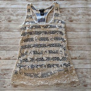 Rue 21 Cream Lace Overlay Navy Cream Stripe Tank S